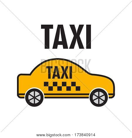 Taxicab transport yellow car poster vector illustration. Taxicab vector