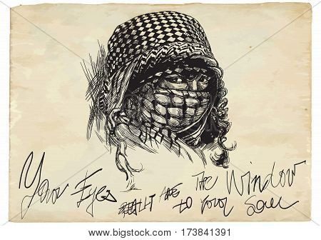 An muslim woman with big eyes wearing a niqab portrat. An hand drawn vector illustration. Illustration with text. - - - Note: This is not a real person - - -