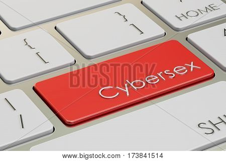 Cybersex red Key on keyboard 3D rendering