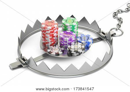 Gambling Addiction concept. Trap with gaming casino chips 3D rendering