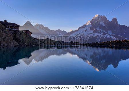 Mont Blanc Massif Reflected in Lac Blanc Graian Alps France