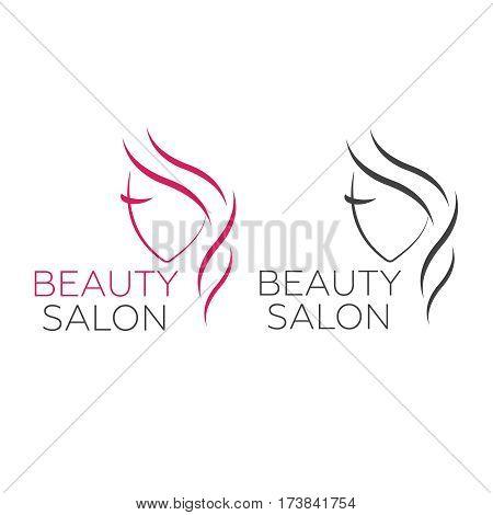 Beautiful woman logo template for hair salon beauty salon cosmetic procedures