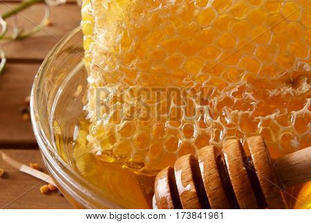 Honeycomb With Honey And Deeper Into Glass Bowl Macro