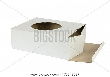 White open carton box with a hole in a middle isolated on white background
