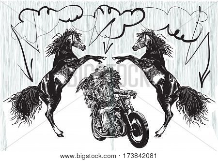 An hand drawn vector freehand sketching. Native American couple lovers drive a motorycle. Riders on the storm. (The bike is not specific brand - something as a common chopper.)