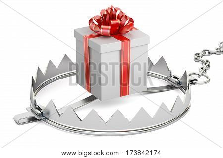 trap with gift box 3D rendering isolated on white background