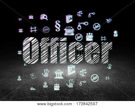 Law concept: Glowing text Officer,  Hand Drawn Law Icons in grunge dark room with Dirty Floor, black background