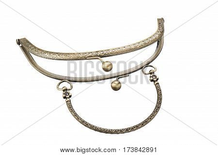 The metal clasp for leather or textile purses handbags wallets isolated