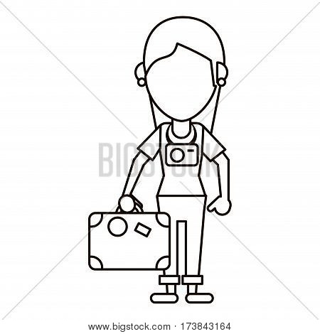 tourist girl travel map and suitcase thin line vector illustration