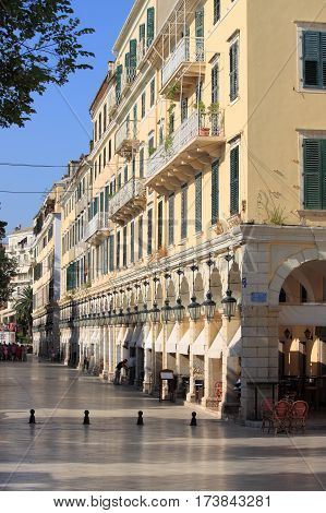 Liston the main promenade of Corfu city, Greece