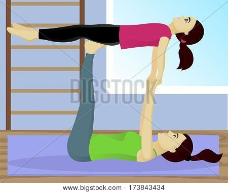 Acro Yoga With Child In Gym