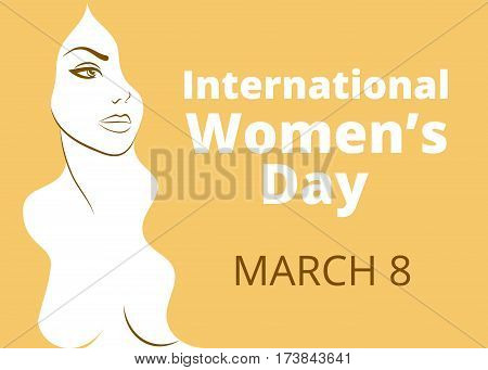 International womens day greetings with woman portrait