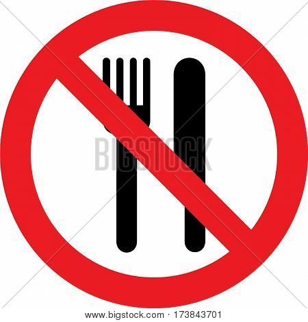 No eating allowed sign on white background