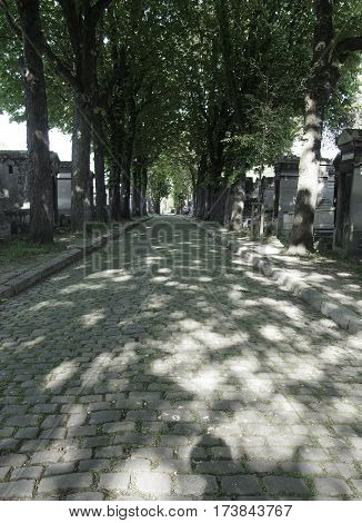 Pathway Through Pere Lachaise Cemetery In Paris France