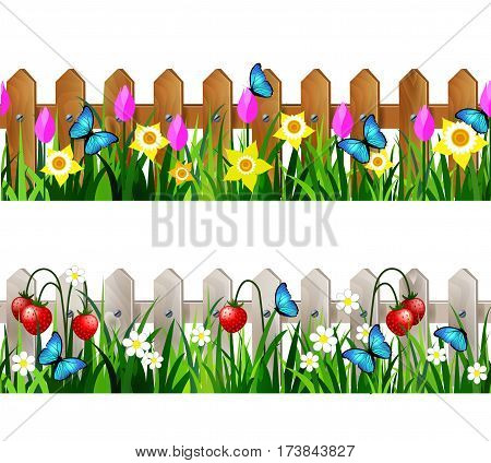 Green Grass set with strawberries on white fence and wooden fence with flowers pink tulips and yellow daffodils borders seamless isolated clip art vector on white.