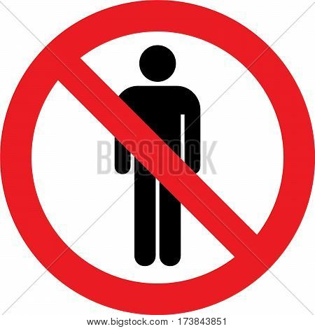 No toilets sign with man symbol on white background
