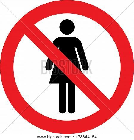 No toilets sign with woman symbol on white background