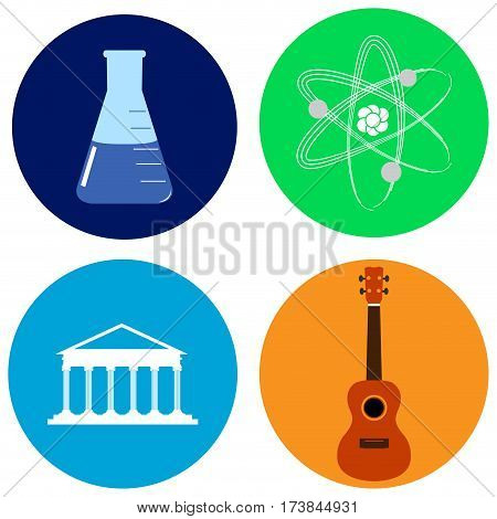 Set of different school icons on stickers, Vector illustration