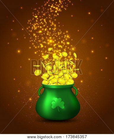 Green pot of gold coins on braun background with golden glowing particles.Irish holiday Saint Patrick's Day. Vector illustration