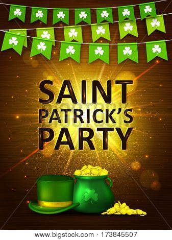 Garland flags with clover, green pot of gold coins and green hat on on shining gold background. Irish holiday Saint Patrick's Day. Vector illustration for party poster, banner, disco night placard