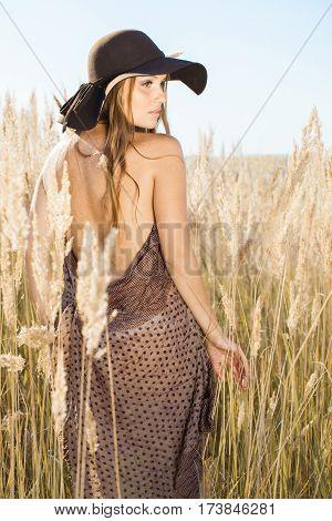 Beautiful Model Walking In Tallgrass