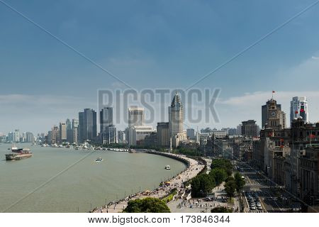 Cityscape of in Shanghai bund with modern buildings at Shanghai China.