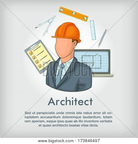 Architect concept tools. Cartoon illustration of architect tools vector concept for web