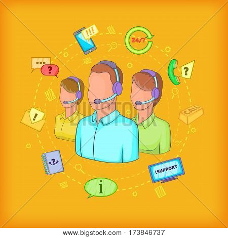 Call center concept. Cartoon illustration of call center vector concept for web
