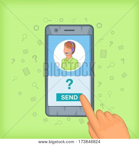 Call center concept cellphone. Cartoon illustration of call center vector concept for web