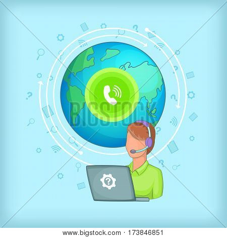 Call center concept global. Cartoon illustration of call center vector concept for web