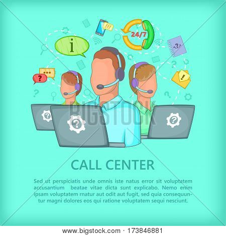Call center concept team. Cartoon illustration of call center vector concept for web