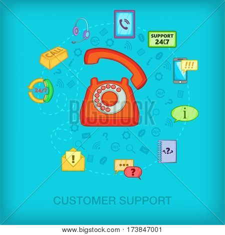 Call center concept old phone. Cartoon illustration of call center vector concept for web