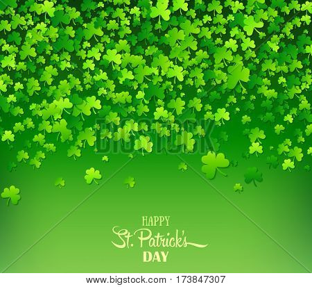 Green background with trifolium clovers. Happy Saint Patrick's Day backdrop. Vector illustration for greeting card, poster, banner