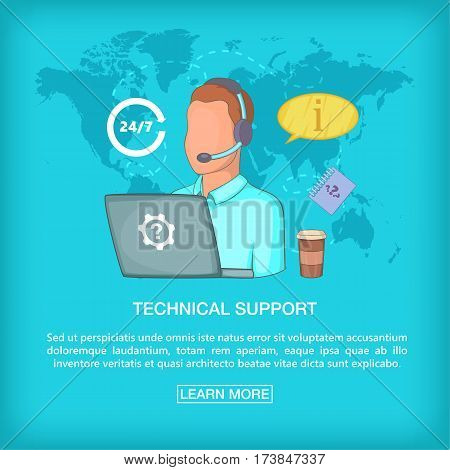 Call center concept tech support Cartoon illustration of call center vector concept for web