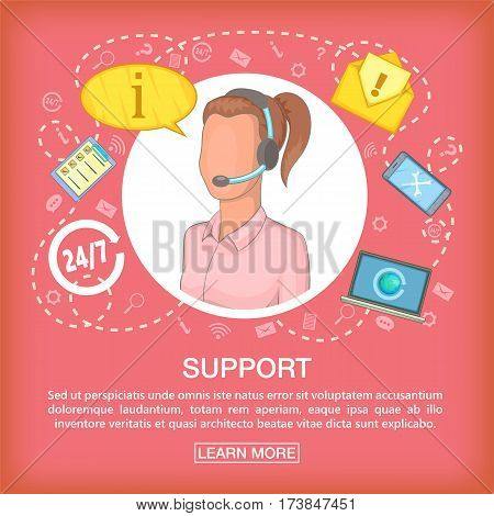 Call center concept support listen. Cartoon illustration of call center vector concept for web