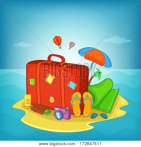 Sea rest concept. Cartoon illustration of sea rest vector concept for web