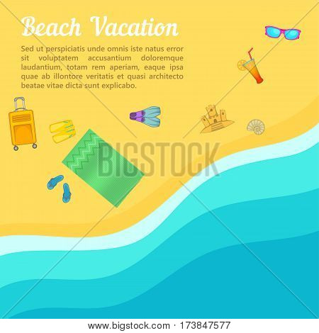 Sea rest concept beach. Cartoon illustration of sea rest vector concept for web