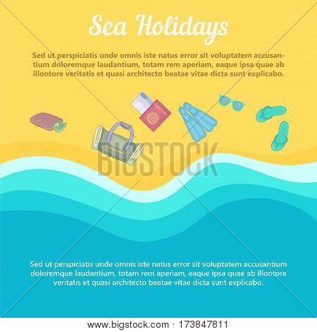 Sea rest concept beach items. Cartoon illustration of sea rest vector concept for web