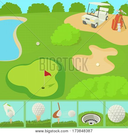 Golf field concept. Cartoon illustration of golf field vector concept for web