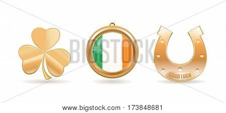 Gold icon set for St. Patricks Day. Trifoliate clover. Golden horseshoe with the inscription - Good Luck. Gold medallion with Irish flag inside. Vector illustration