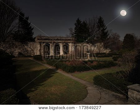 Loggia in a formal garden at night