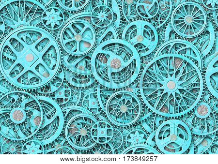 Industrial Gears Background, Texture Grunge Iron Plates, Illustration 3D