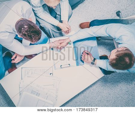 Business people sitting and discussing at business meeting