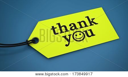 Thank you sign and text message on a yellow paper label tag 3D illustration.