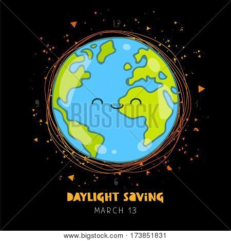 Daylight saving. Vector illustration of planet Earth on a black background. Lettering. Ecology concept.