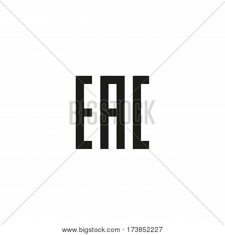 Eurasian conformity mark symbol isolated on white background vector illustration. Certification center sign for the EAC customs union. Black packaging pictogram