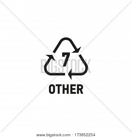 Packaging symbol isolated on white background vector illustration. Recycling symbol showing packaging materials made from material other than the plastic materials listed above. OTHER 7 sign