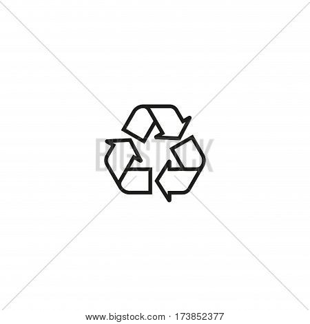 Packaging symbol isolated on white background vector illustration. Recycling symbol, mobius loop, chasing arrows. Indicates that object capable of being recycled. World standard black pictogram.