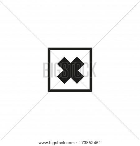 Harmful product symbol isolated on white background vector illustration. Irritant hazard pictogram. International standard black packaging element