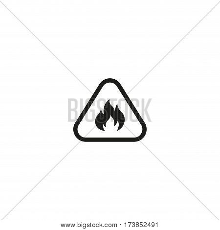Attention fire symbol isolated on white background vector illustration. Prohibition open flame symbol, flammable hazard triangle sign. International standard black packaging pictogram